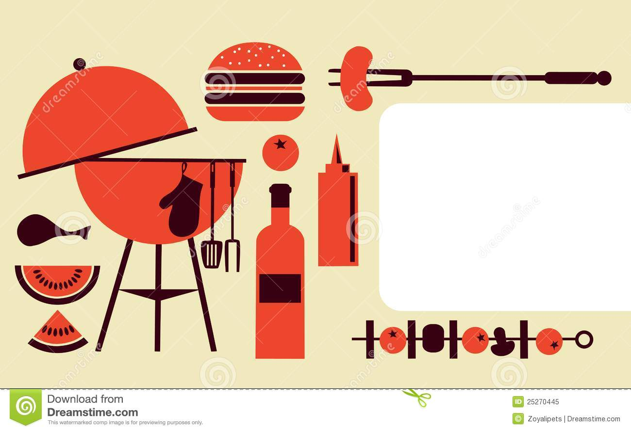Bbq Party Invitation Template Royalty Free Stock Photo