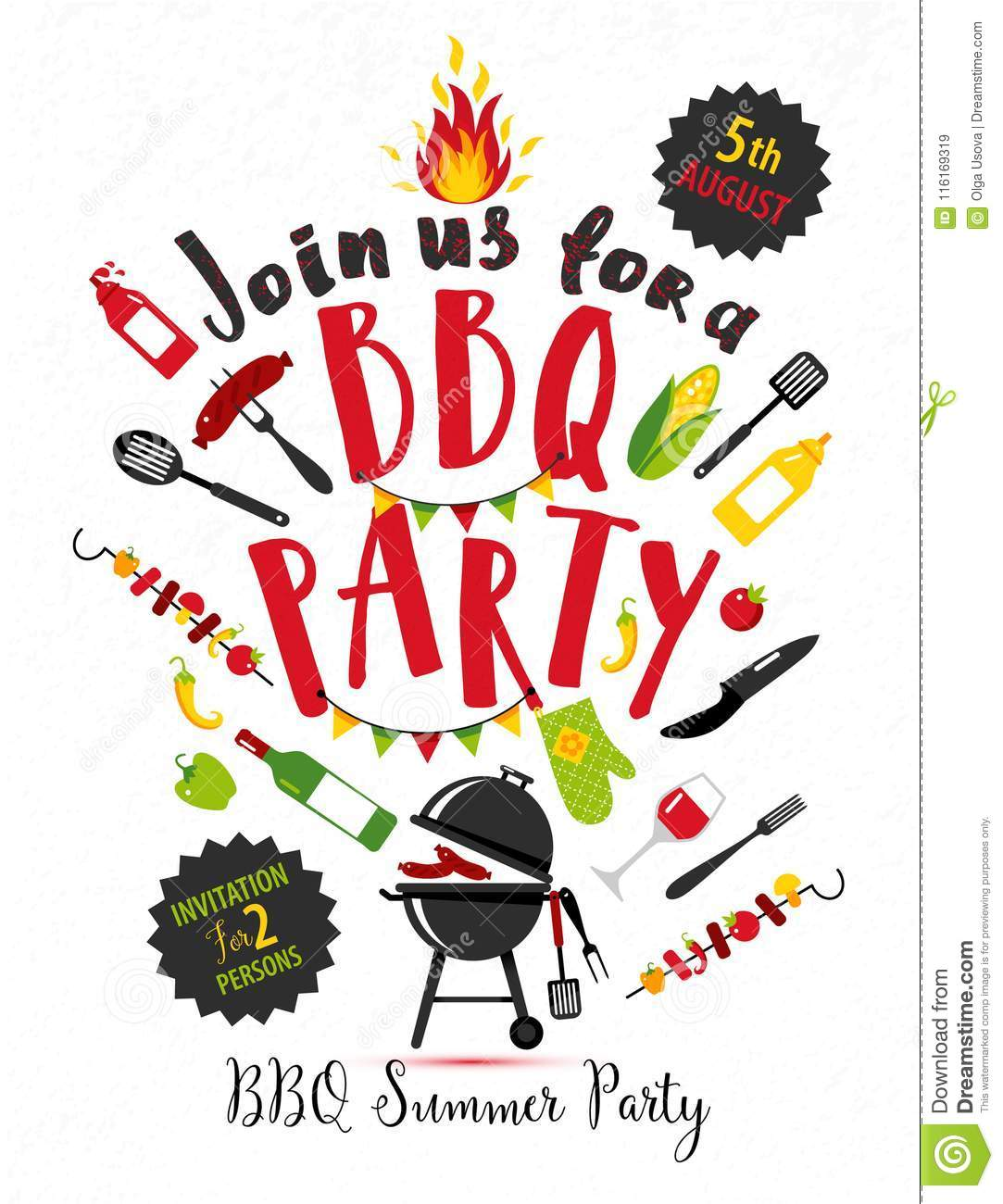 Bbq Party Invitation On White Background With Symbols Of Bbq Stock