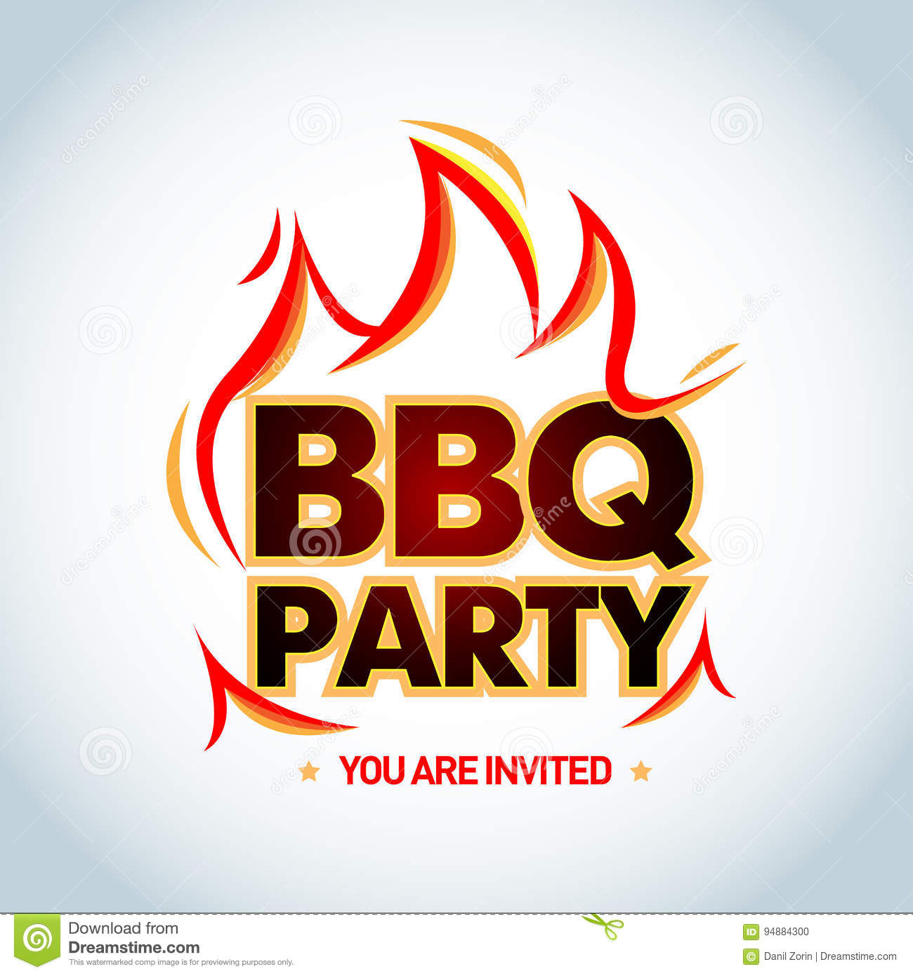 bbq party logotype template with flames barbecue party logo party