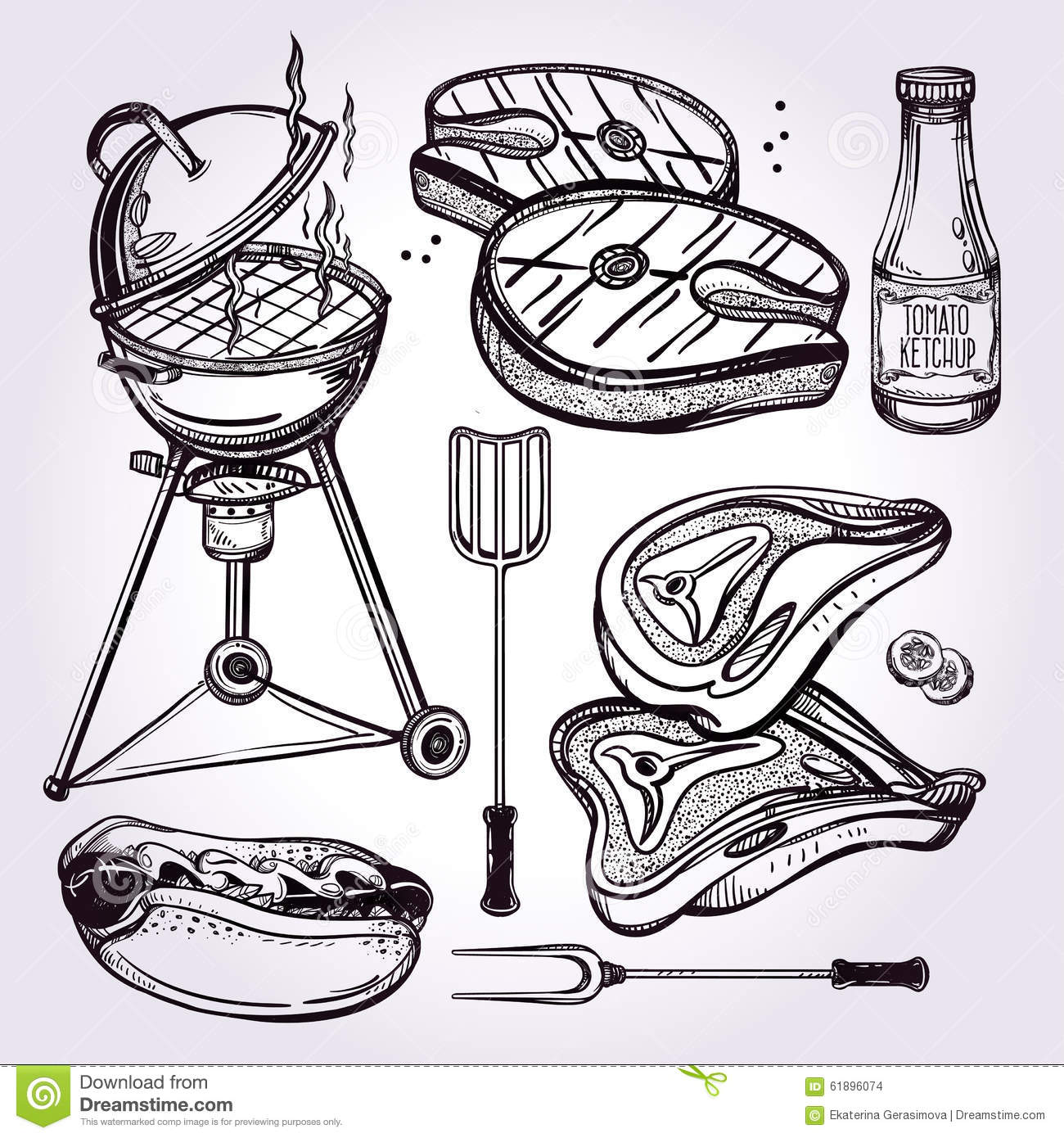 Bbq party set stock vector image 61896074 for Food bar hands