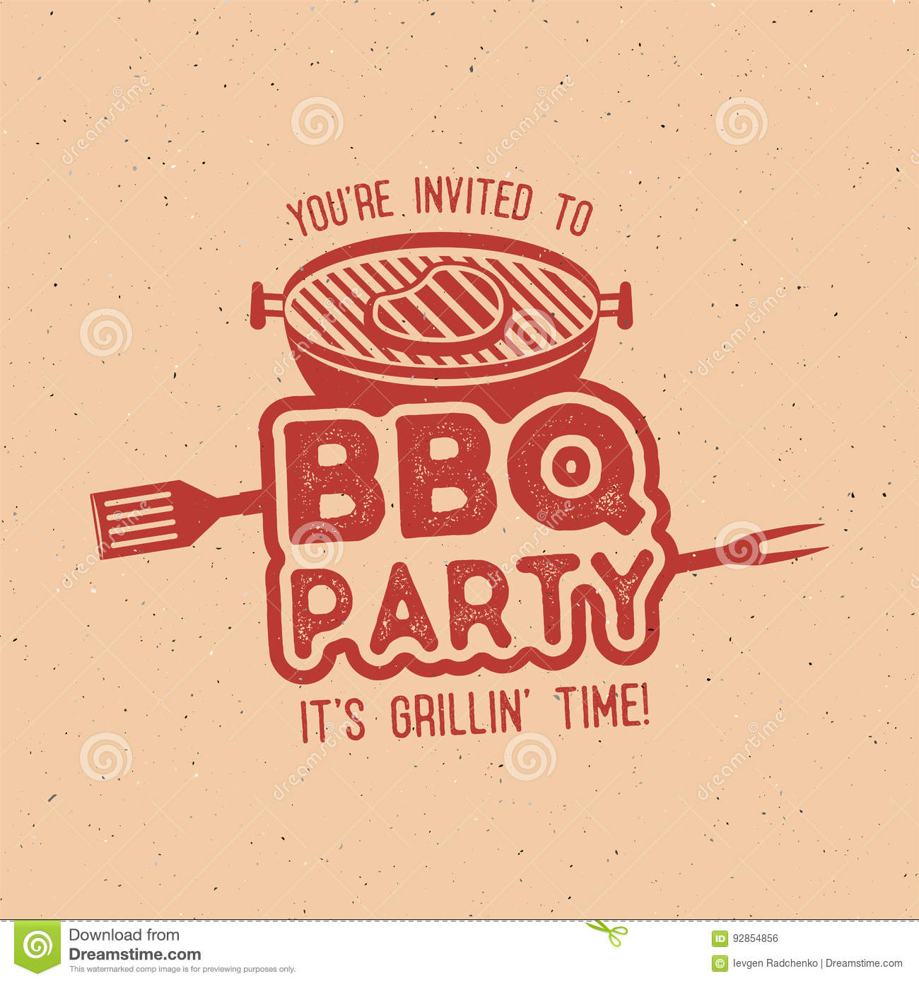 bbq party typography poster template in retro old style offset and letterpress design letter