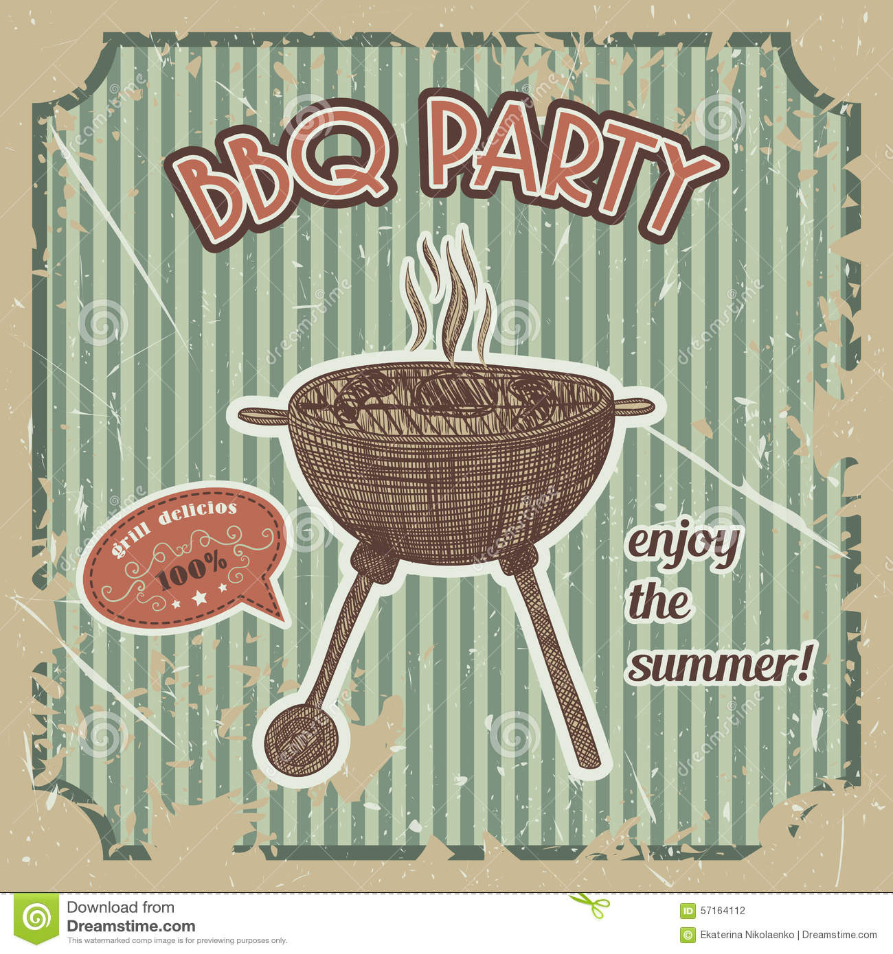 Bbq party vintage poster with bbq grill on the grunge - Retro vintage ...
