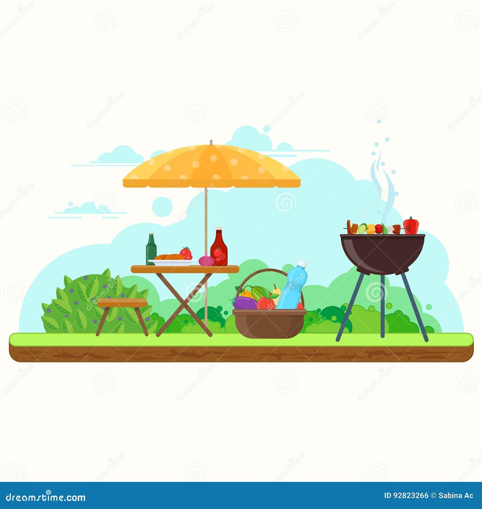 BBQ pinkin w ogródzie