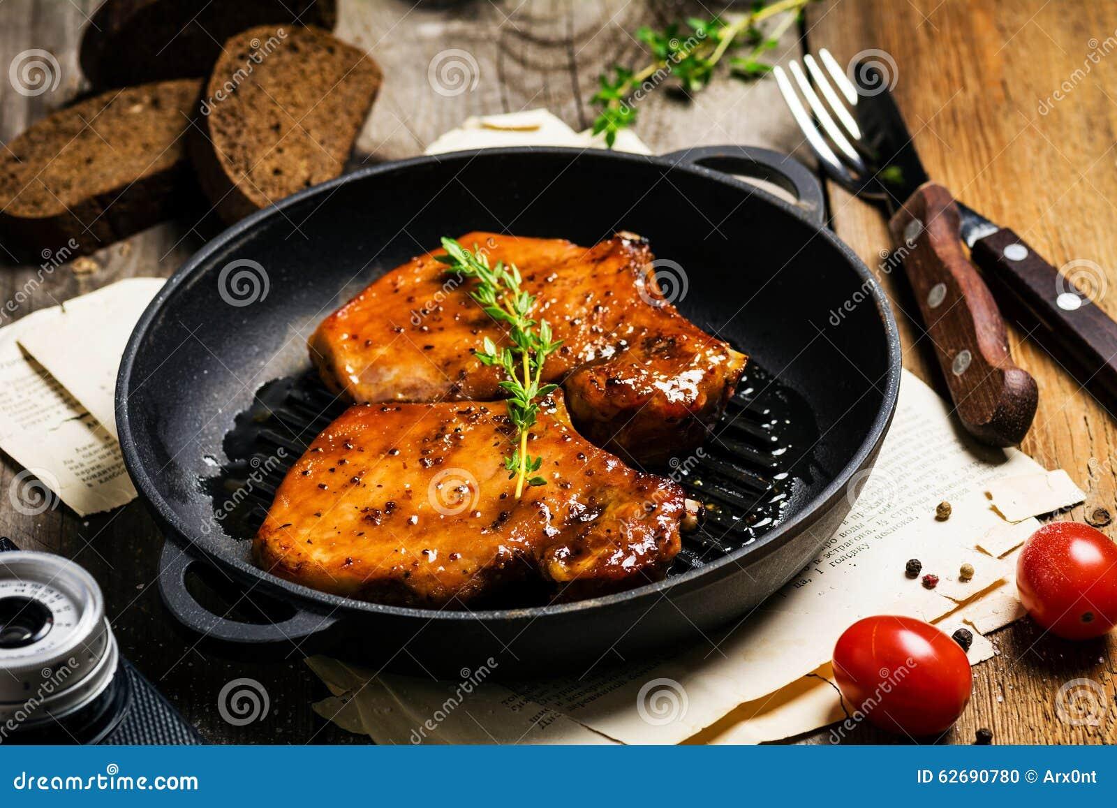 BBQ pork chops in sweet glaze