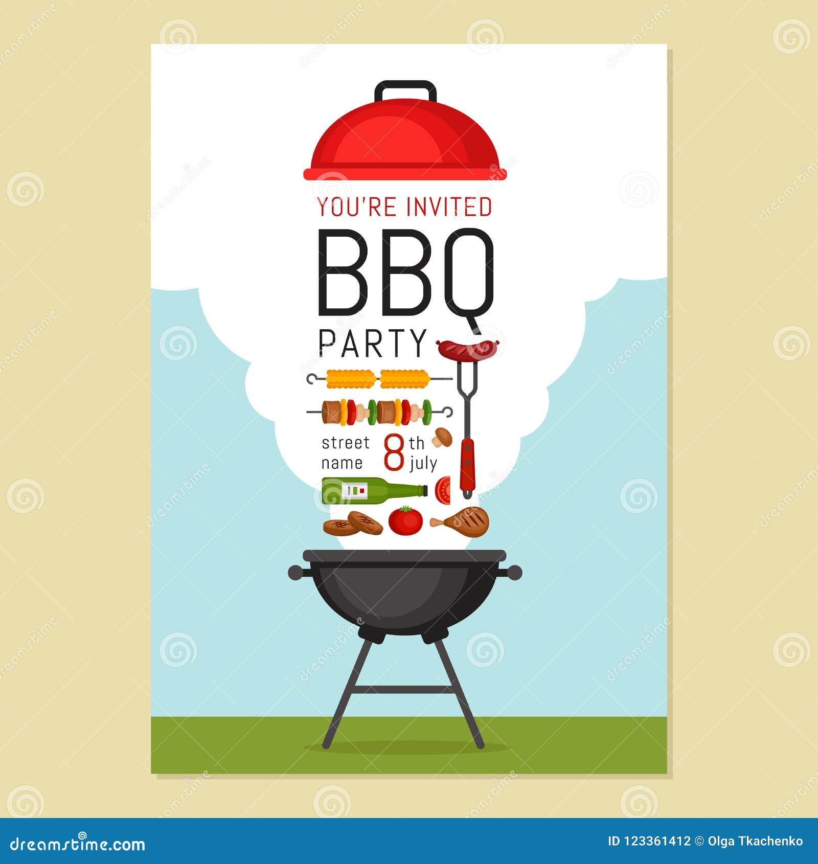 Bbq przyjęcia zaproszenie z grillem i jedzeniem Grilla plakat Jedzenie