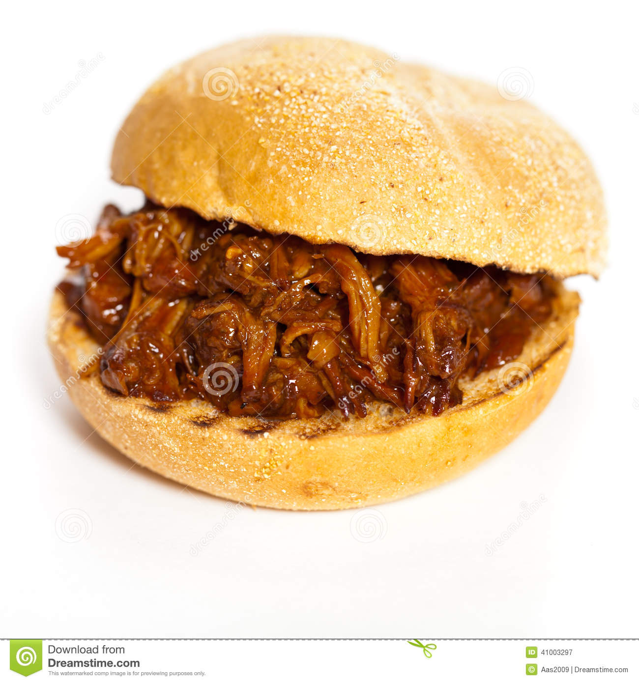 BBQ Pulled Pork Sandwich stock image. Image of snack ...