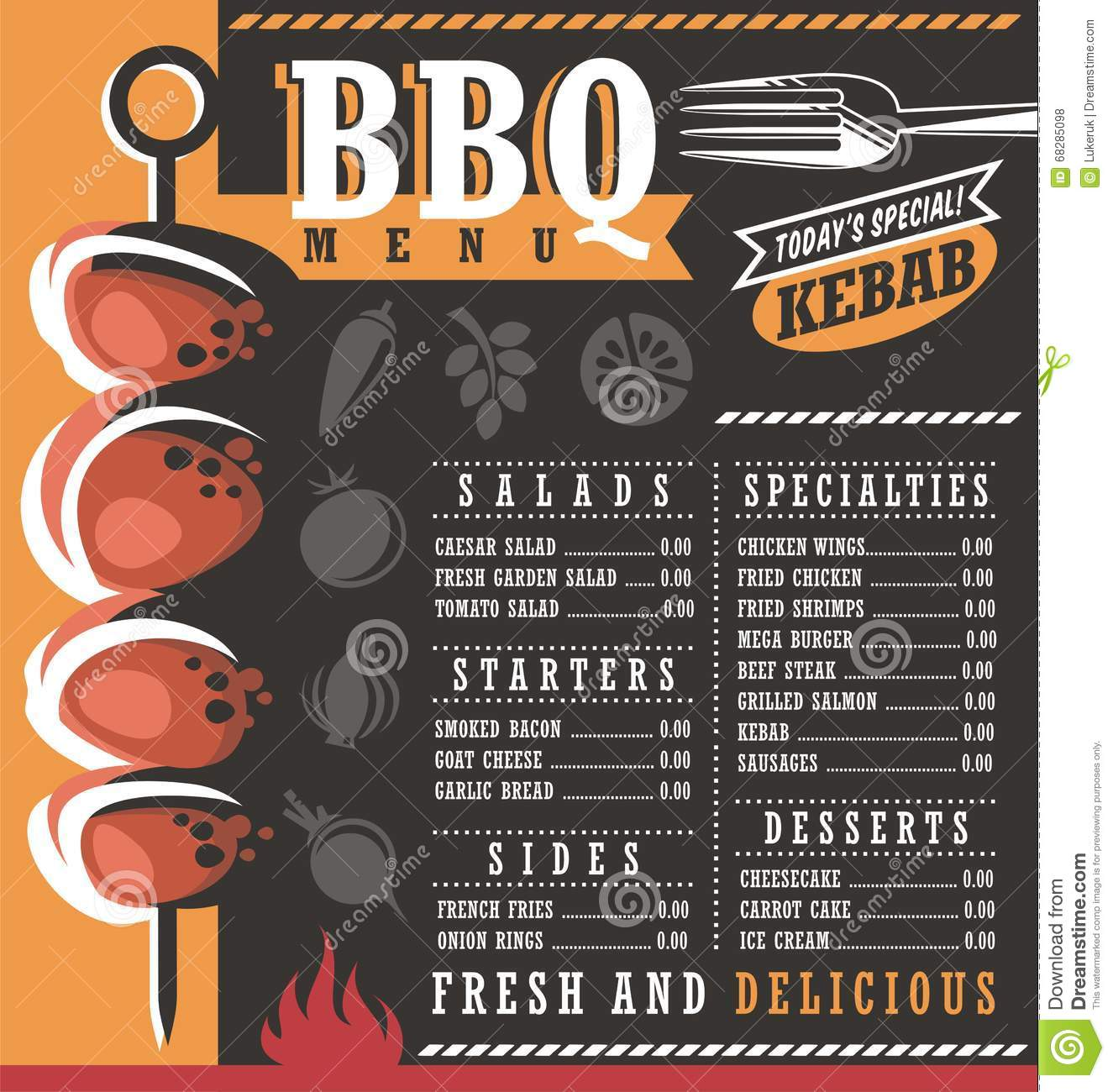 Bbq Restaurant Menu Design Stock Vector Illustration Of