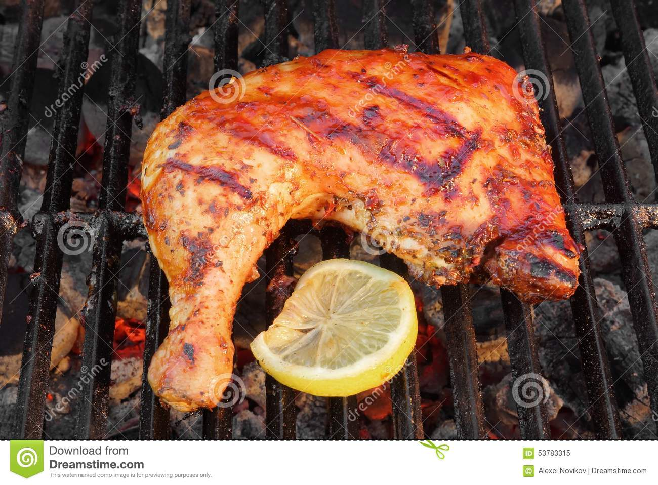 BBQ Roasted Chicken Leg Quarter On The Hot Grill Stock Photo ...