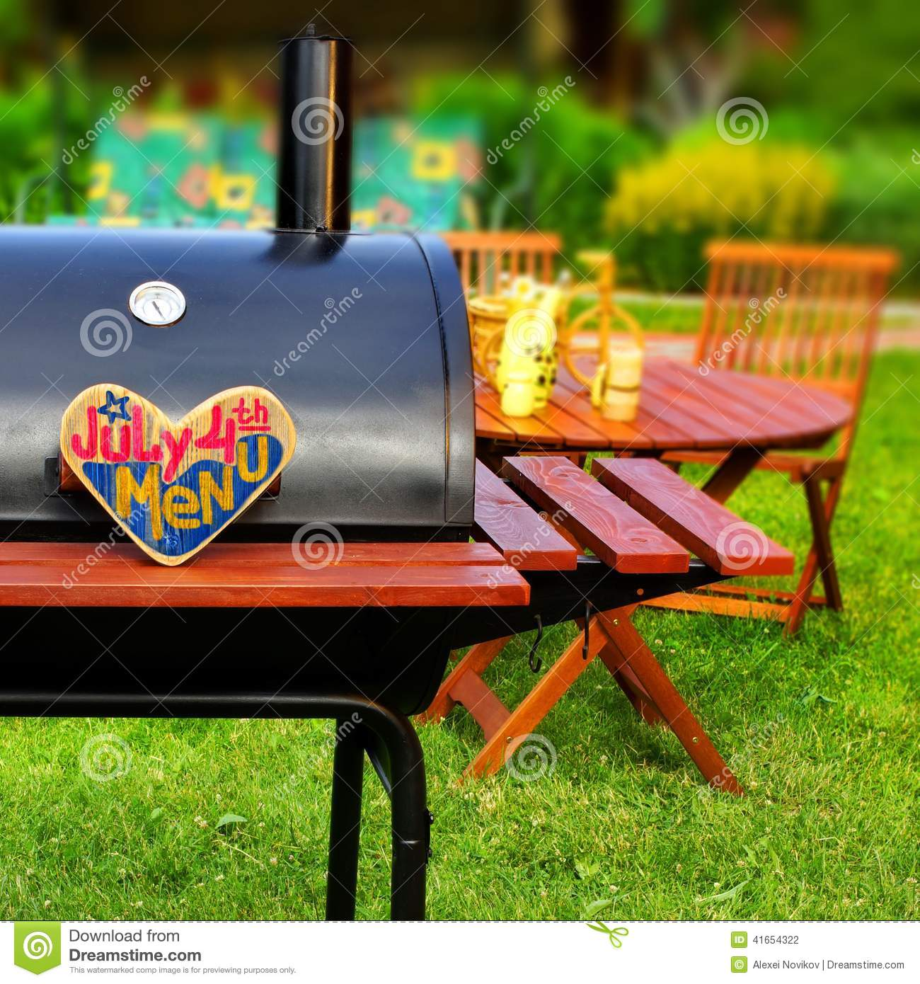 Backyard Summer Background : BBQ Summer Backyard Party Scene with sign JULY 4 th MENU on wooden