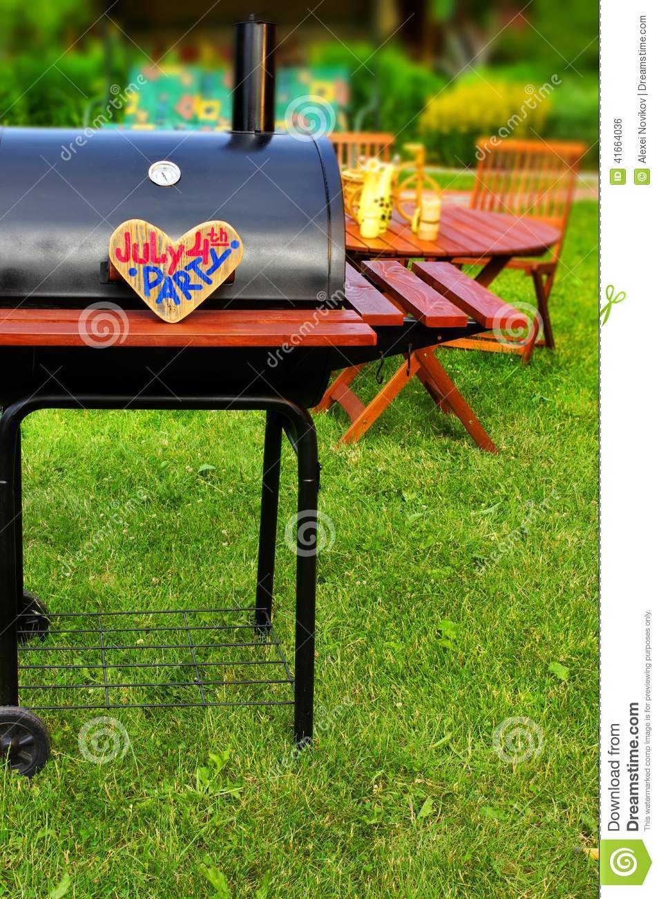 Backyard Summer Background : BBQ Summer Backyard Party Scene with sign JULY 4 th PARTY on wooden