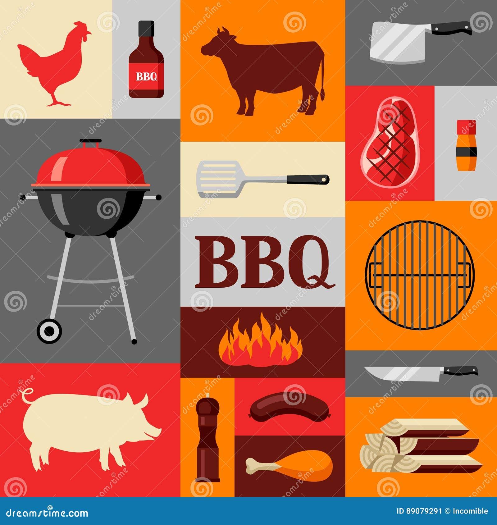 Bbq tło z grill ikonami i przedmiotami