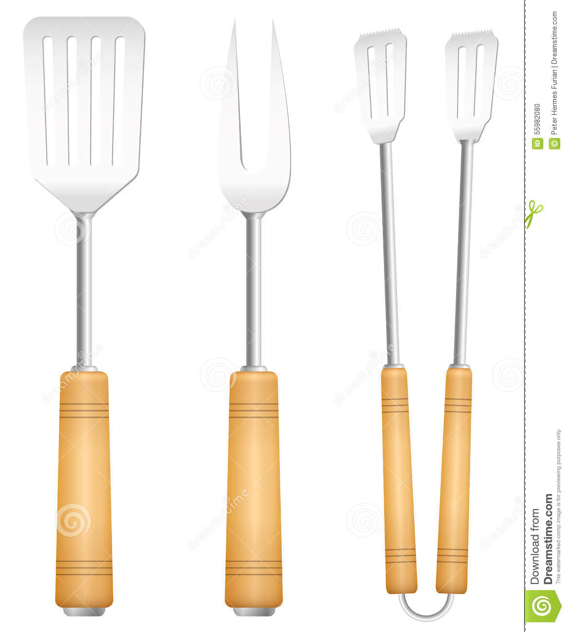 bbq tools utensils barbecue cutlery stock vector image