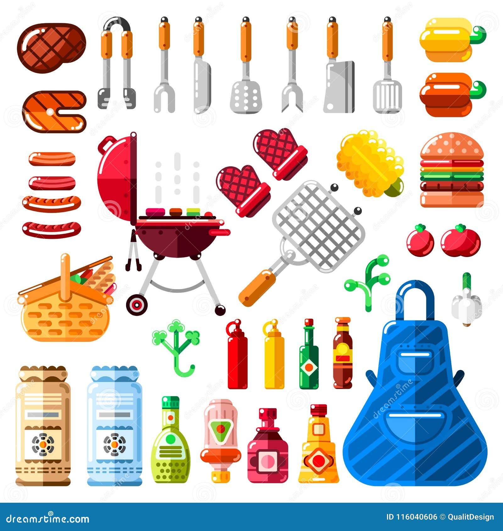 Bbq- und Grillikonen und lokalisierter Gestaltungselementsatz Vector Grilllebensmittel, Ausrüstung und bearbeitet Illustration