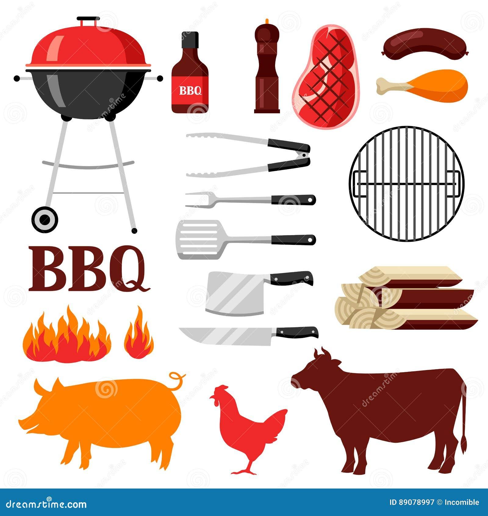 Bbq ustawiający grill ikony i przedmioty