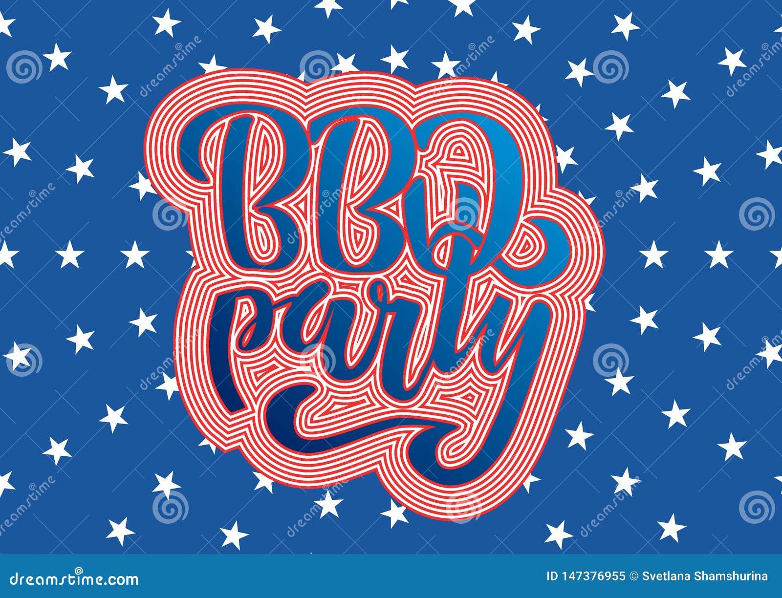 4 BBQ van juli Partij het van letters voorzien de uitnodiging voor de Amerikaanse barbecue van de onafhankelijkheidsdag met 4 de