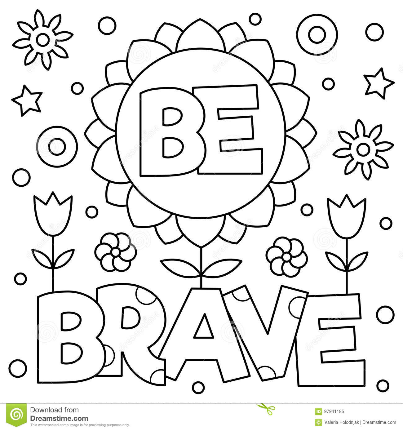 Be Brave Coloring Page Vector Illustration Stock Vector