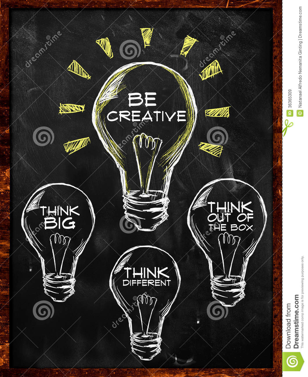 Be Creative Think Big Different Blackboard Ginting