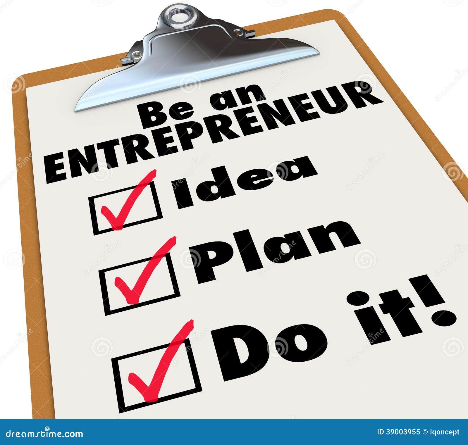 Be entrepreneur to do list idea plan do it stock for Entrepreneur idee
