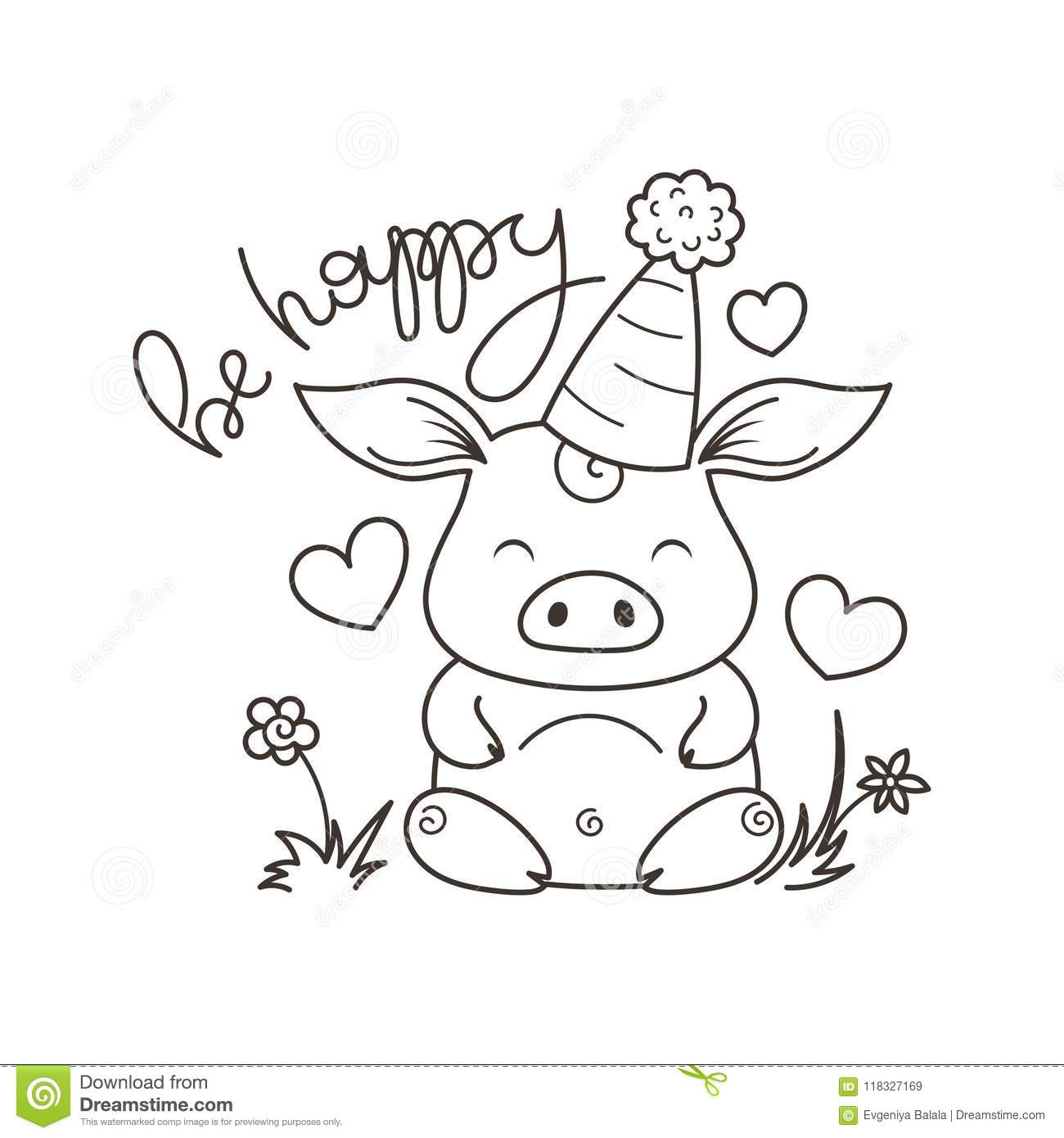 Cute Cartoon Pig In Love Symbol