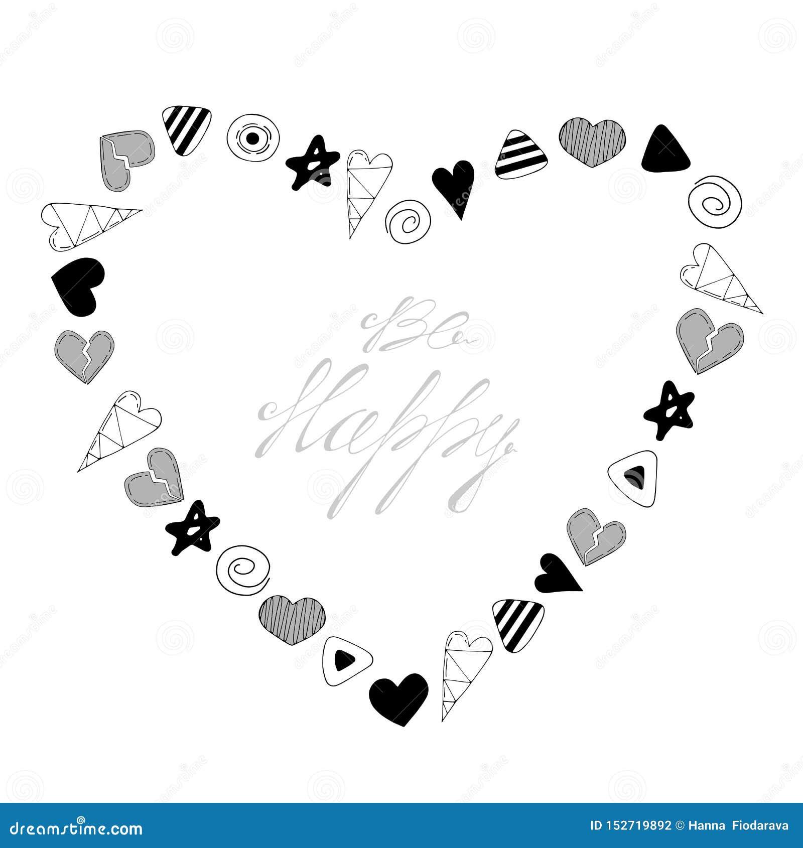 Be happy. Heart shaped frame vector illustration.