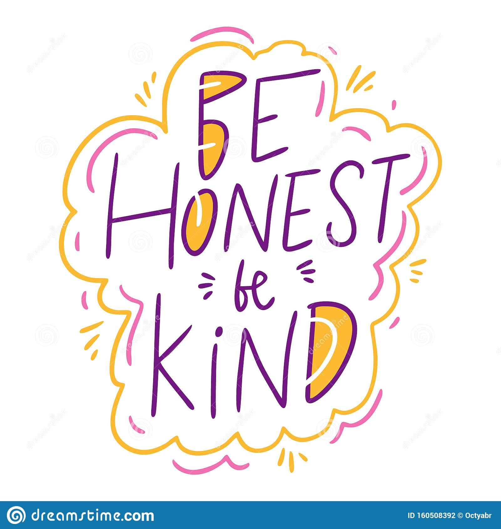 Download Be Honest Be Kind Hand Drawn Vector Illustration And ...
