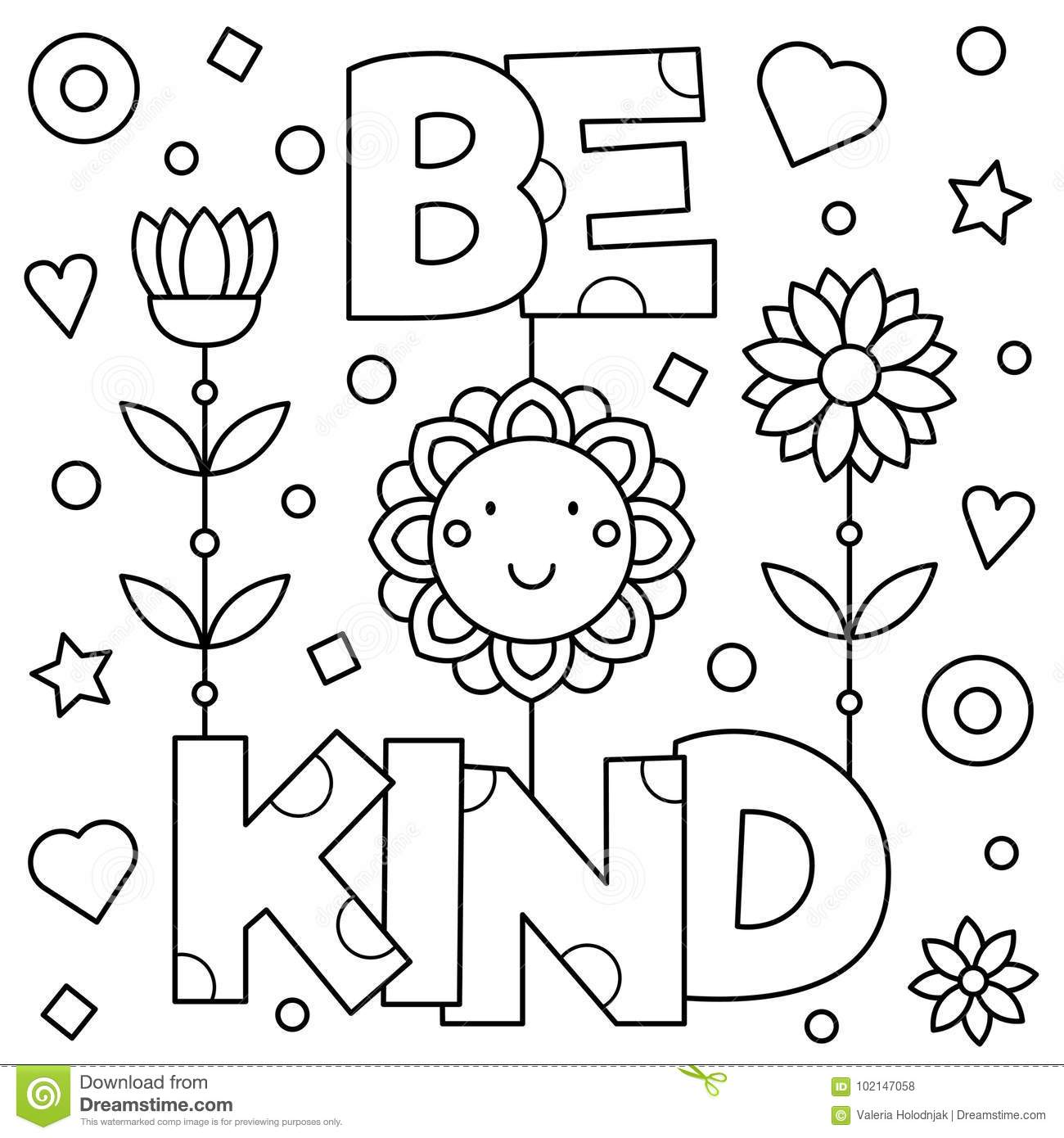 be kind coloring pages Be Kind. Coloring Page. Vector Illustration. Stock Vector  be kind coloring pages