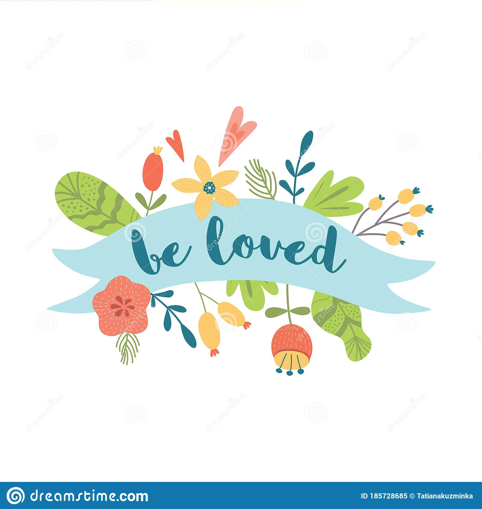 be loved text congratulation banner with ribbon flowers
