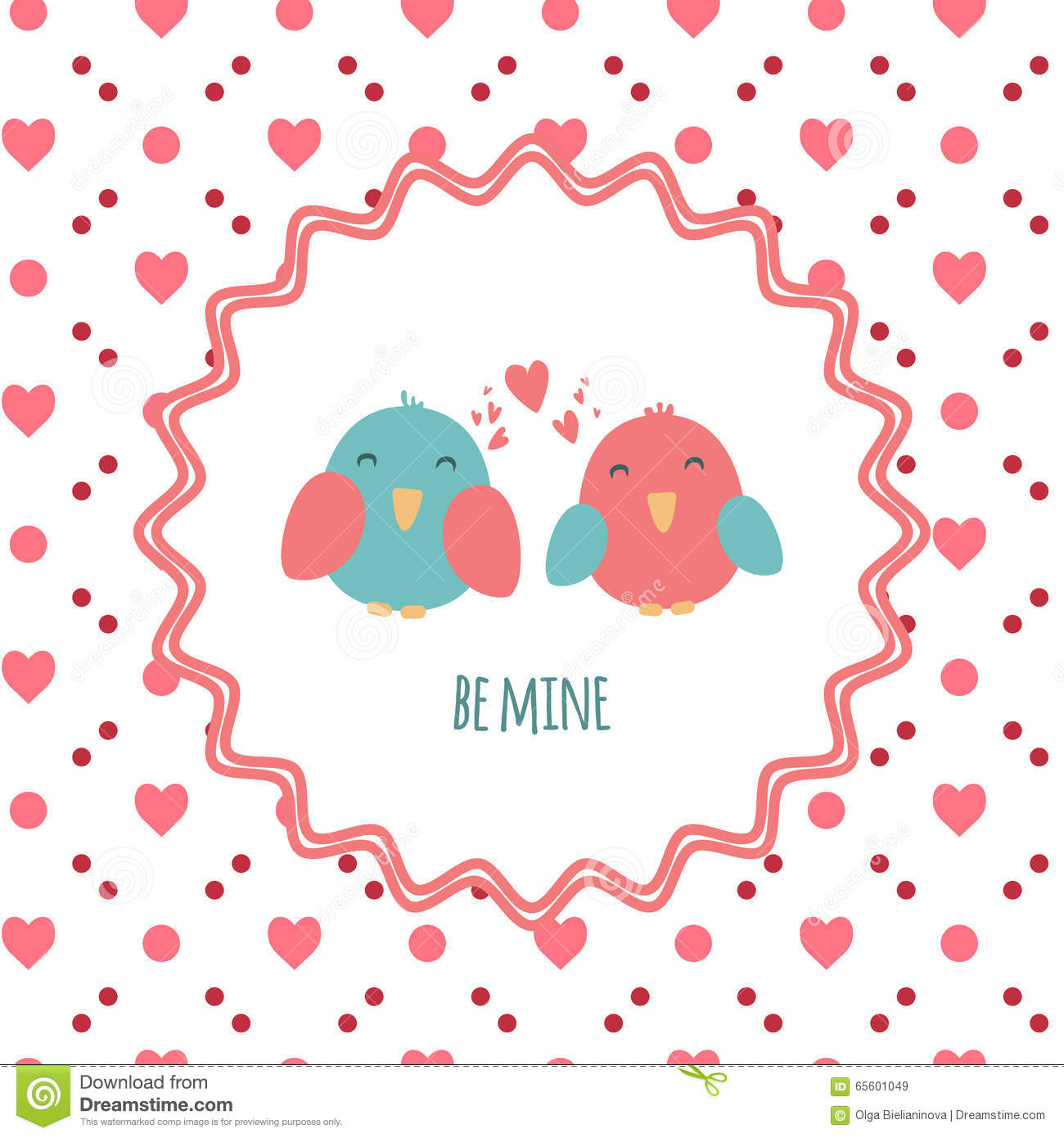 Be Mine Greeting Card With A Couple Of Cute Birds In Love To St – Saint Valentine Card