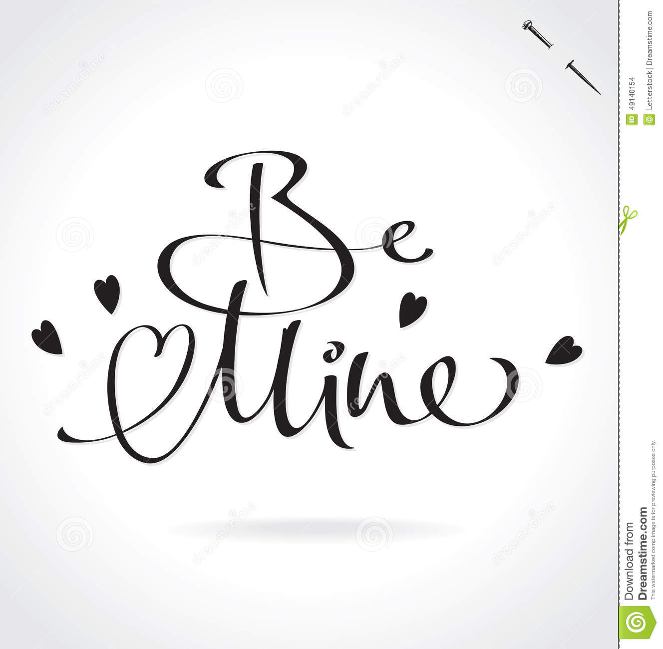 Be mine hand lettering vector stock