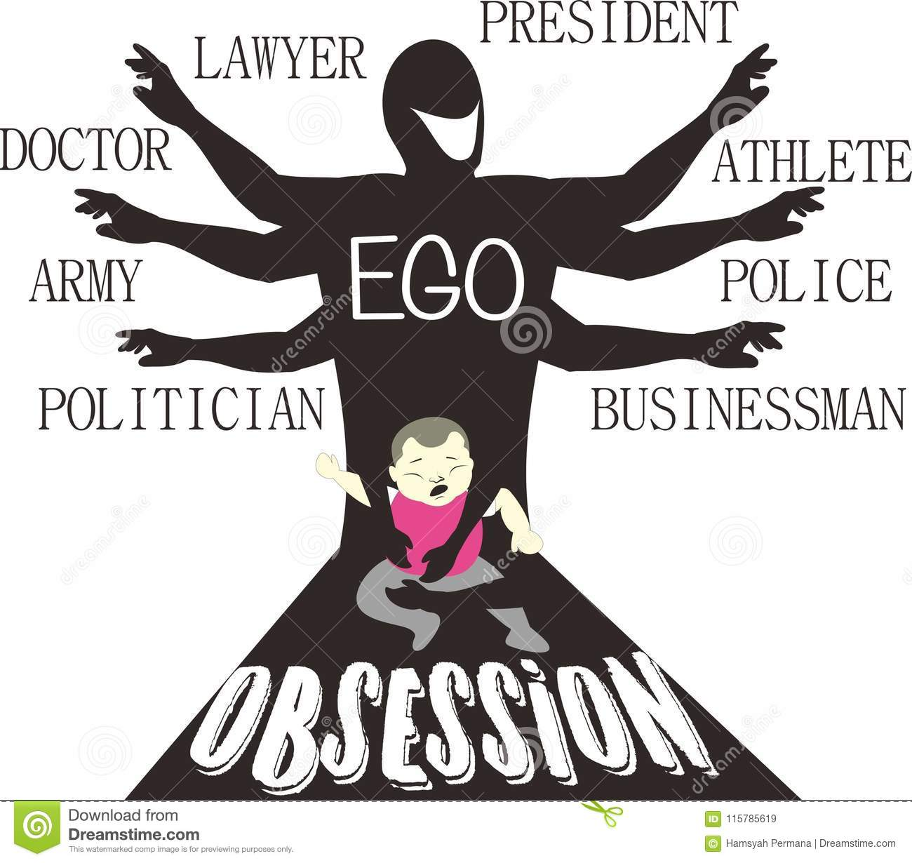 Be My Ego Parental Obsession Satire Art Stock Vector
