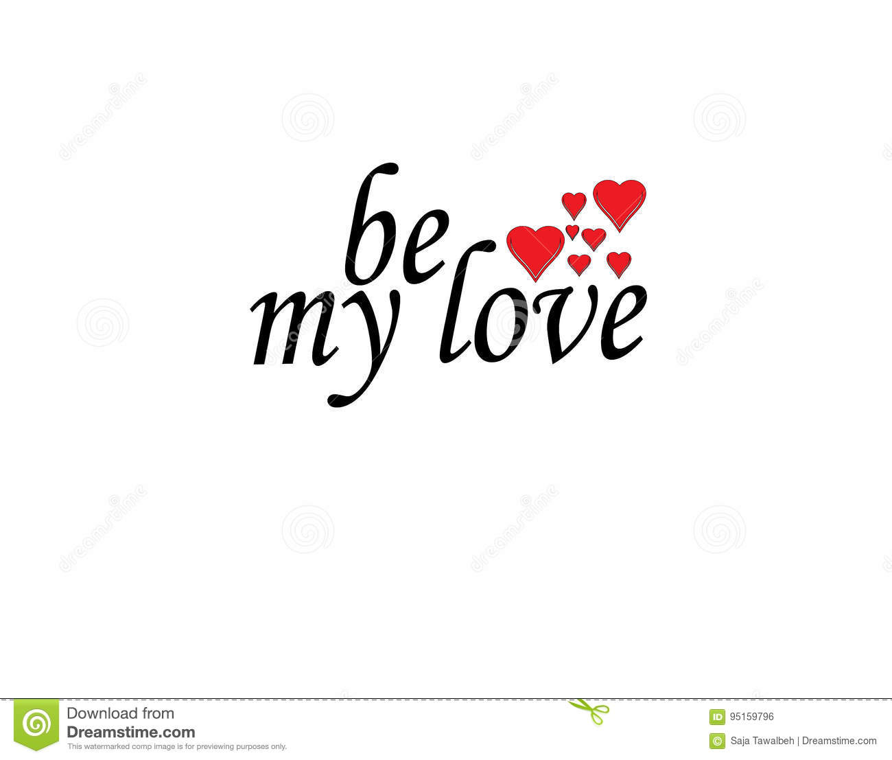 Be My Love Word With Heart Stock Il Ration Il Ration Of Element