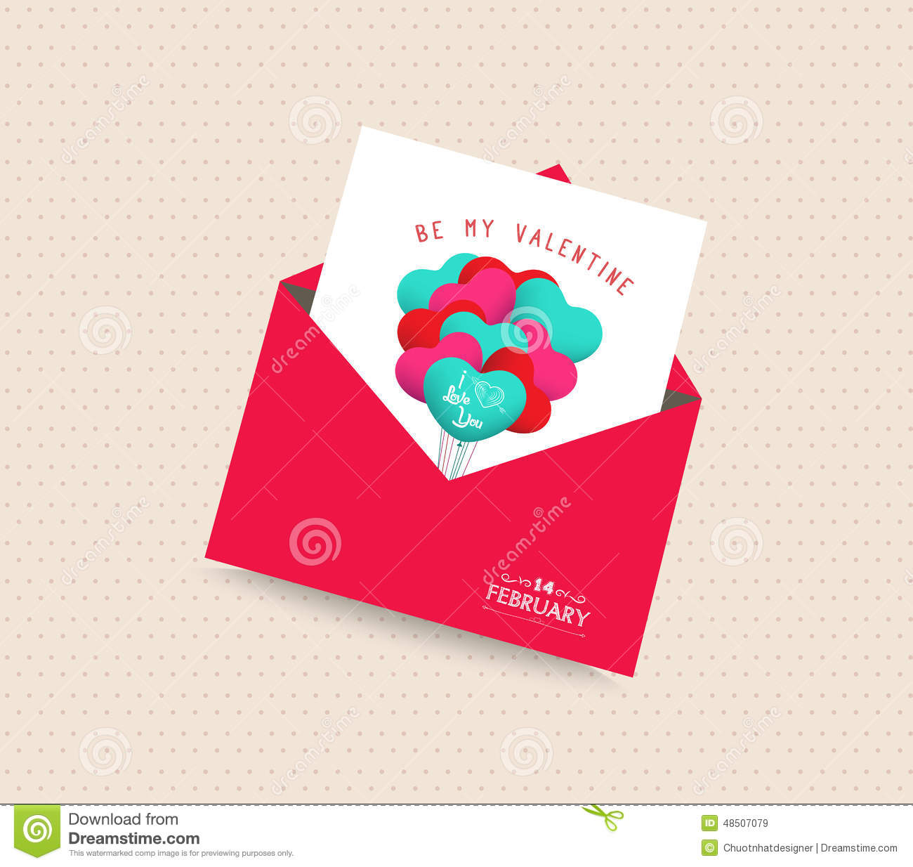 Be My Valentine Day Greeting Card With Envelope Balloons Stock
