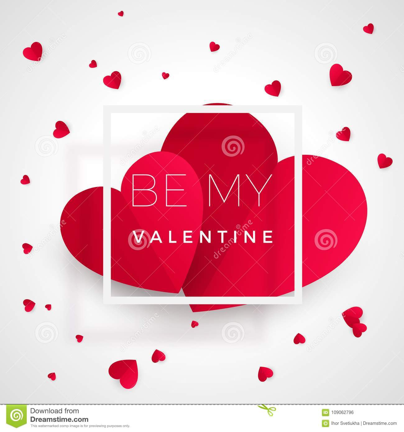 Be My Valentine Greeting Card Red Hearts With Text Heart