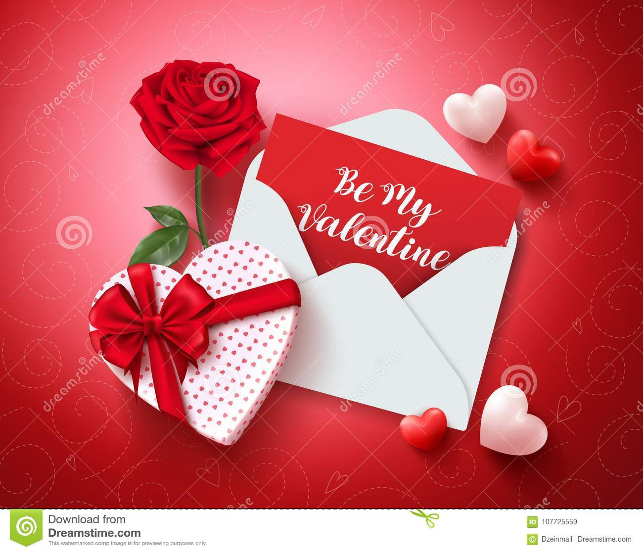 Be My Valentine Greeting Card Vector Design With Love Letter Rose