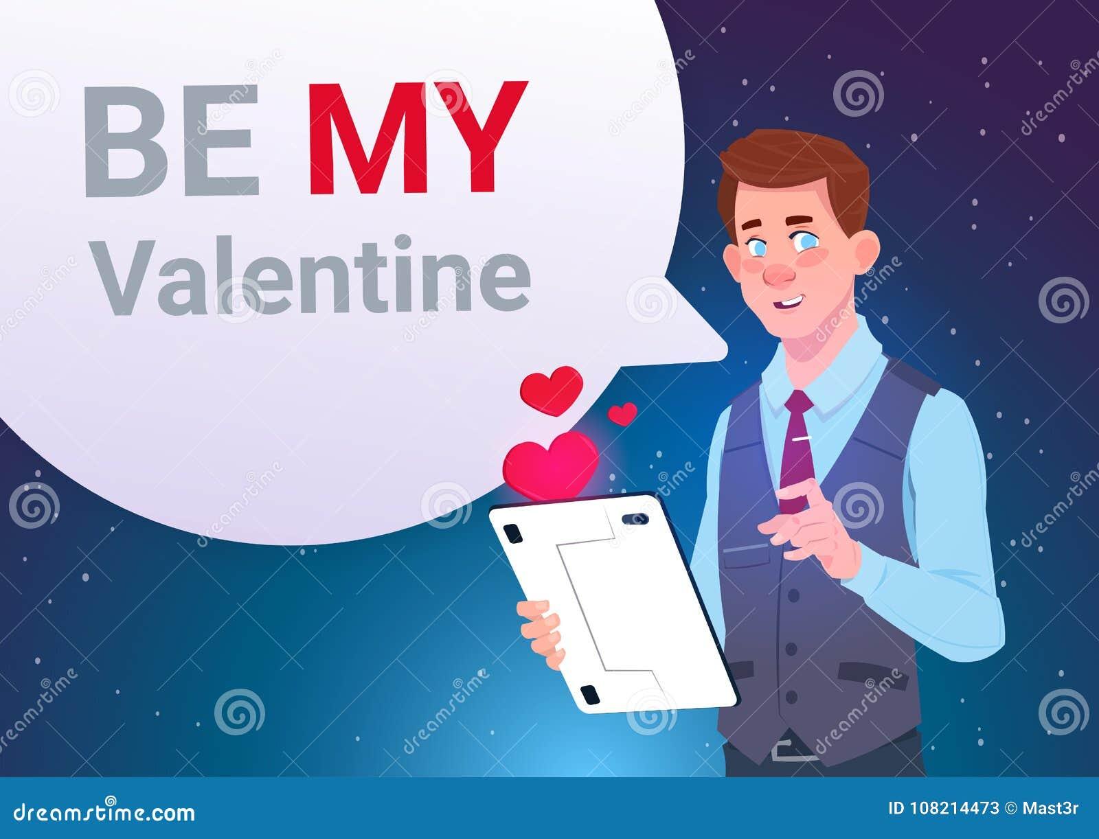 Be my valentine invitation greeting card man holding digital tablet be my valentine invitation greeting card man holding digital tablet sending message m4hsunfo