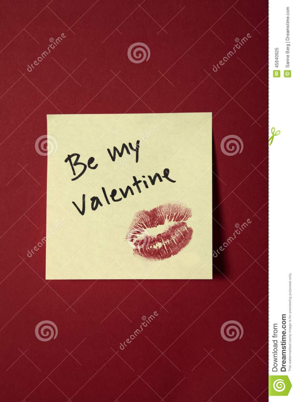 Be My Valentine Note On Red Wall Stock Image - Image of photography ...