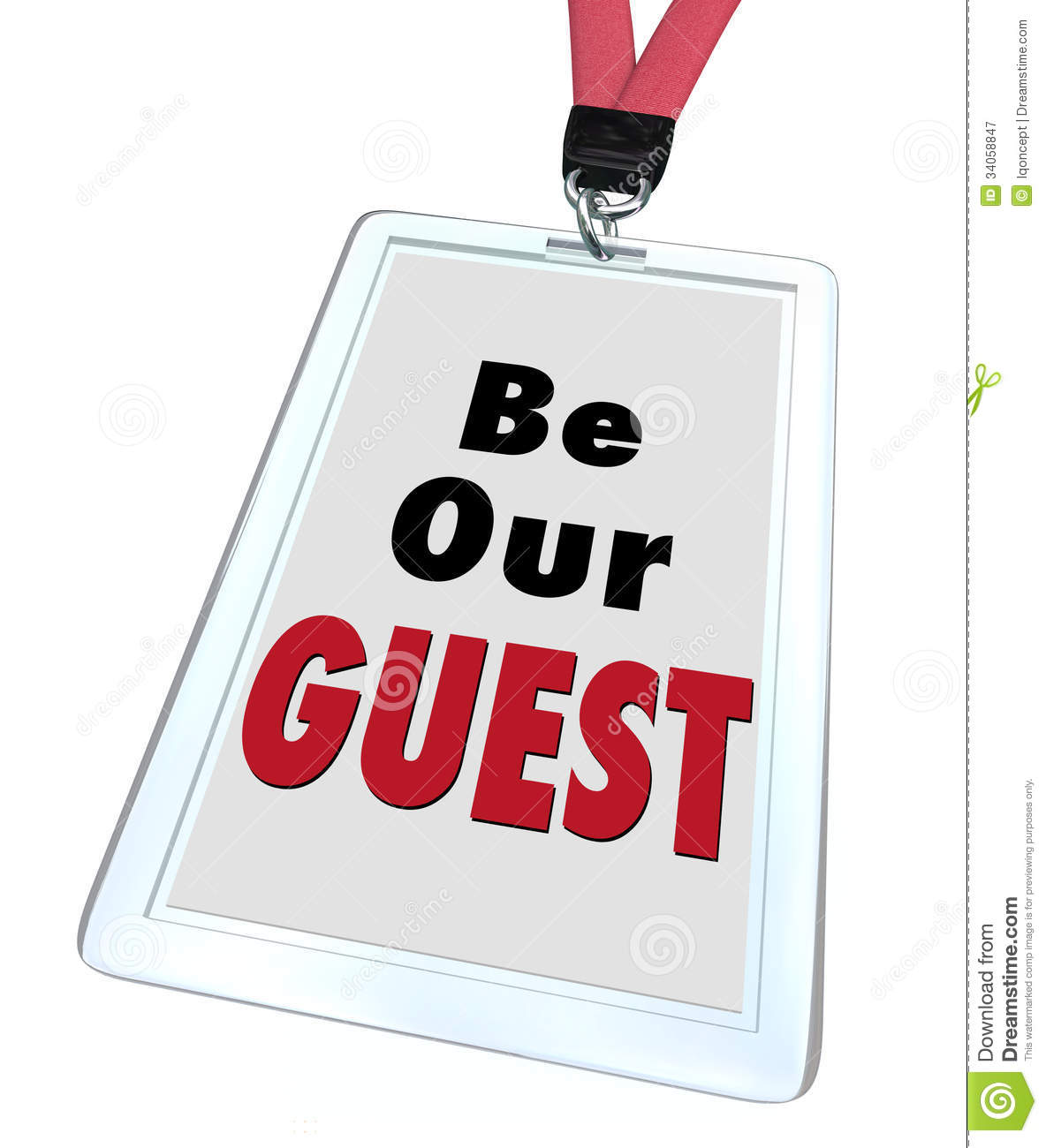Be Our Guest words on a badge with lanyard to illustrate welcome ...