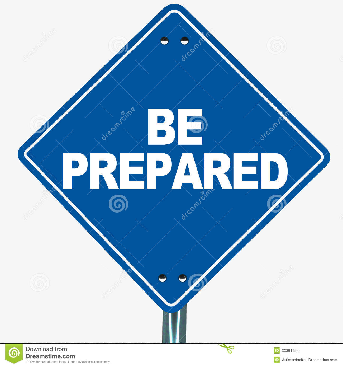 Be prepared words on a blue road-sign, concept of readiness and ...