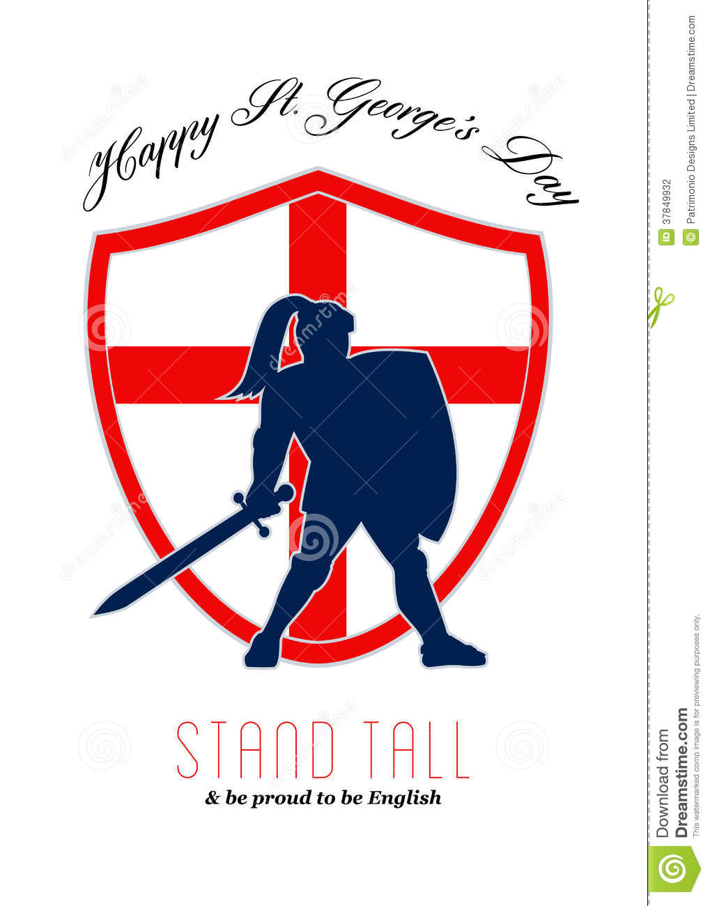 Be Proud To Be English Happy St George Day Poster Stock