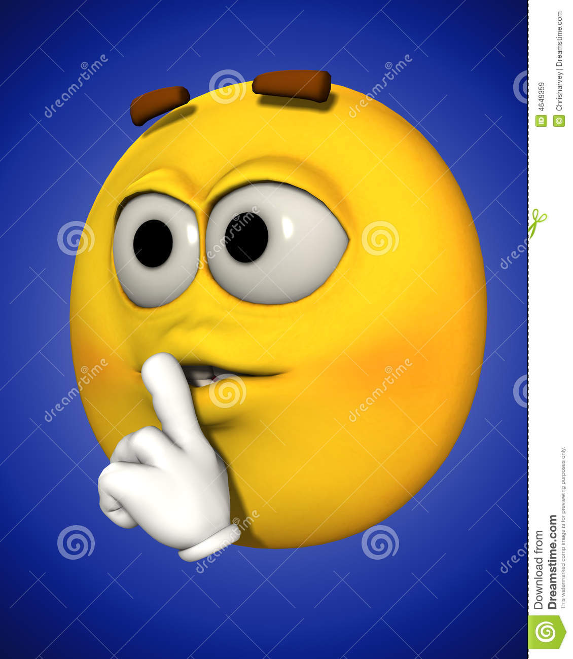 Conceptual image of a cartoon face that is telling people to be