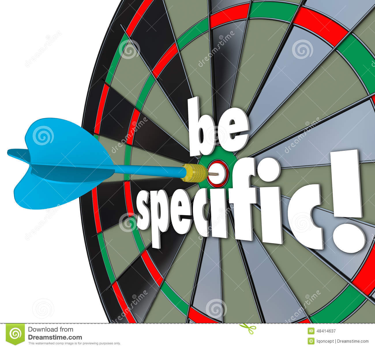 Be Specific Words Dart Board Targeting Details Explicit Directio Stock ...