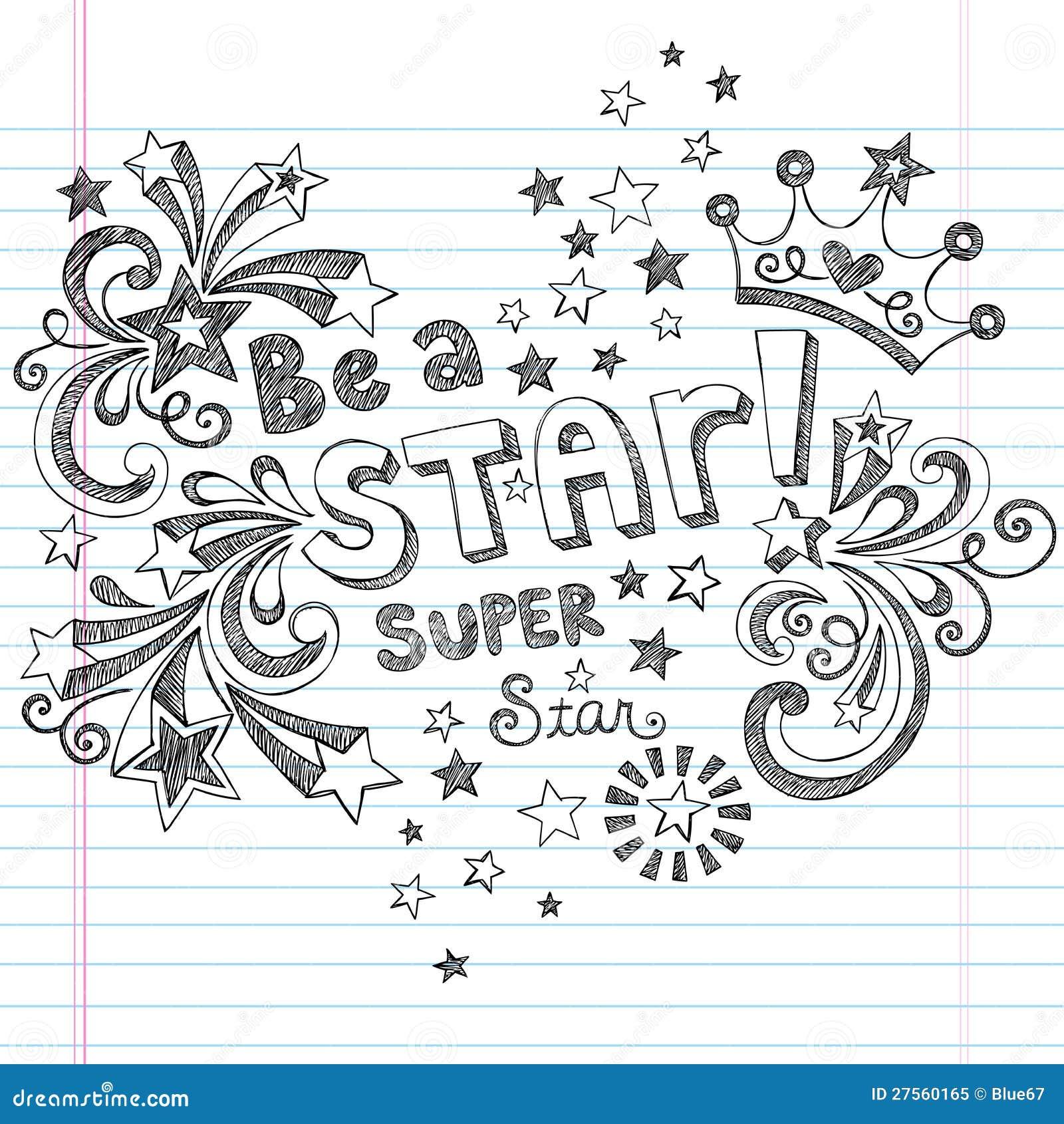 Be A Star Sketchy School Doodles Vector Design