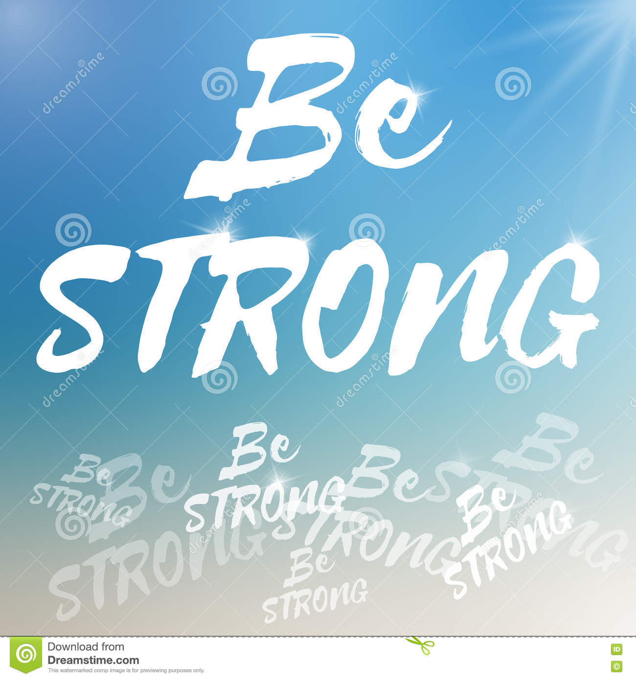 be strong motivational poster template with blurred background stock