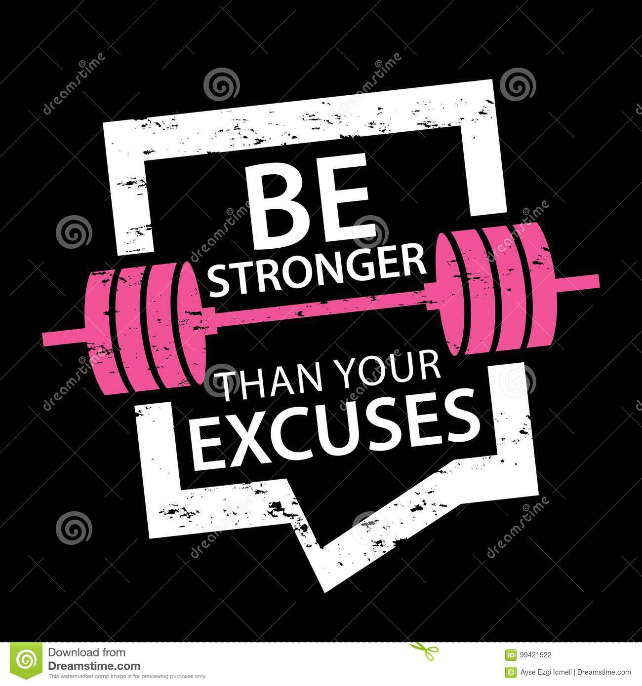 Be Stronger Than Your Excuses Typography Sports Motivation