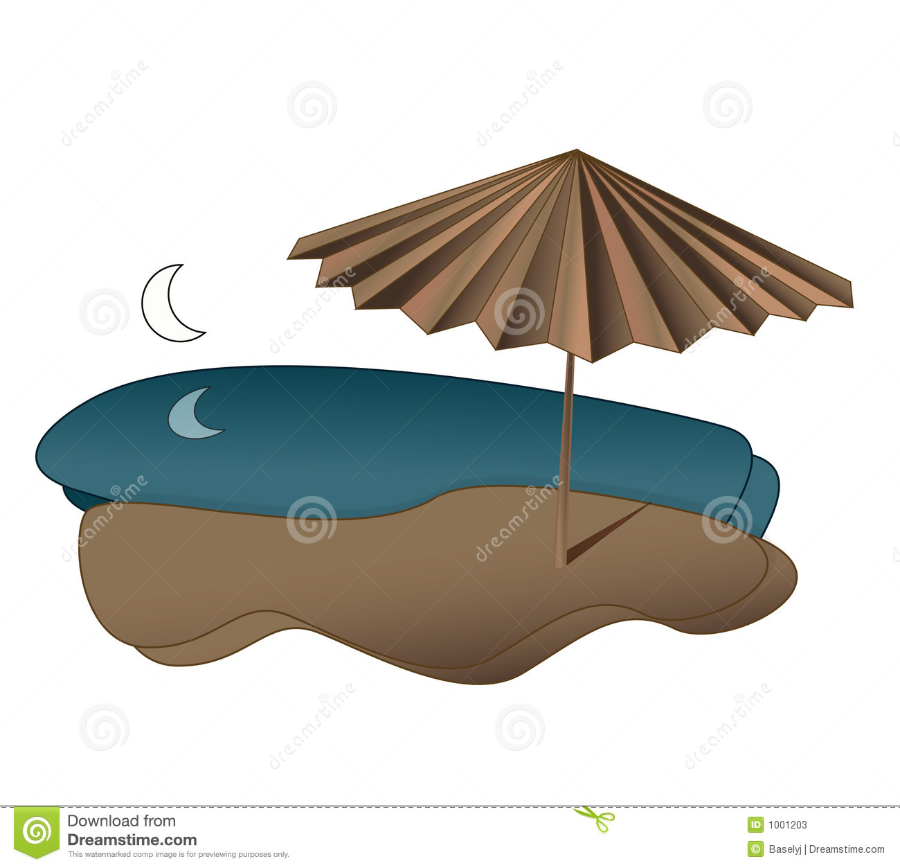 Download Beach stock vector. Illustration of night, umbrella, moon - 1001203