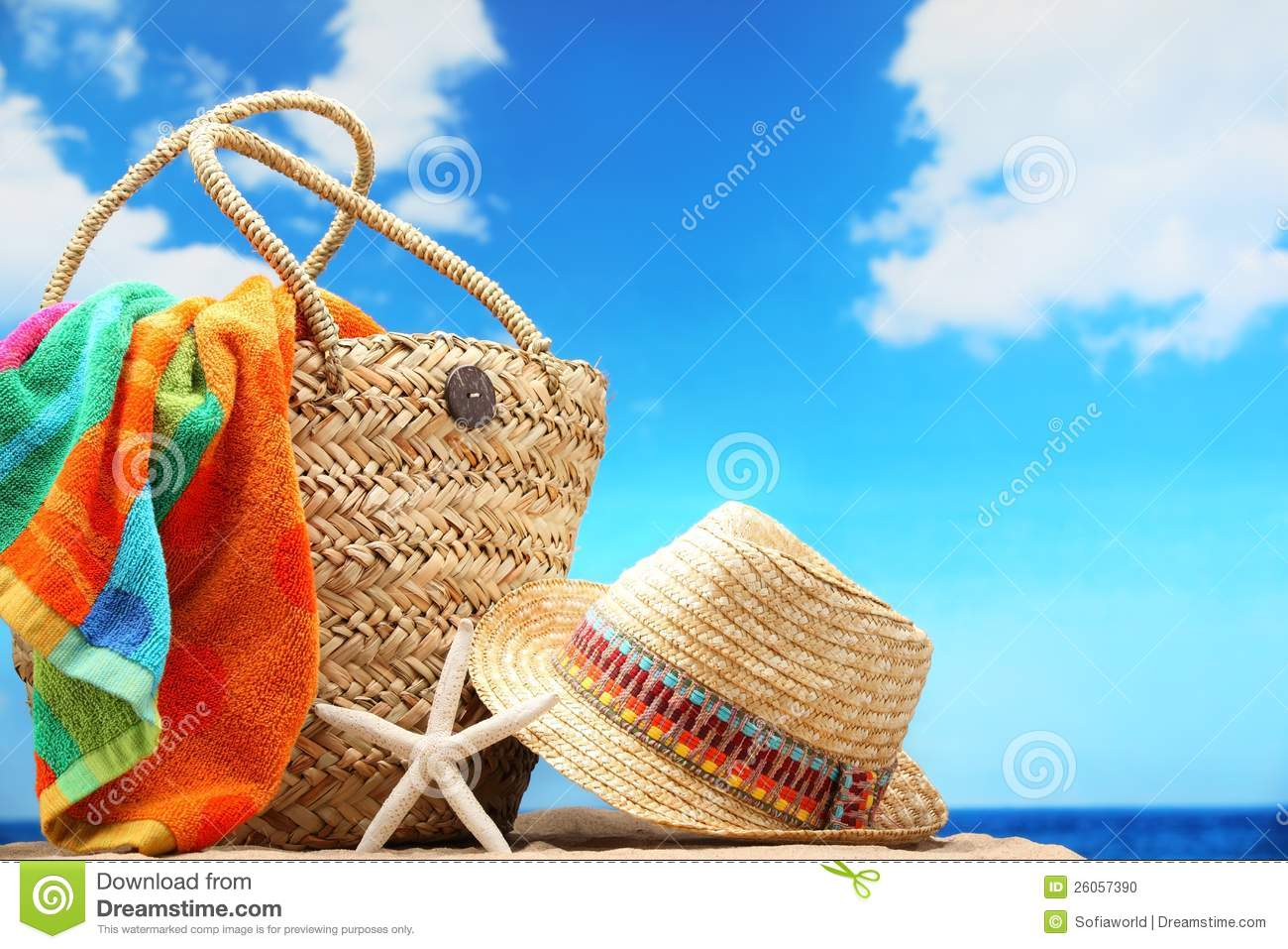 Beach Accessories Stock Photo Image 26057390