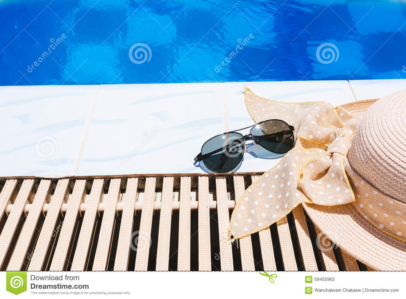 Beach Accessories By The Swimming Pool Stock Photo - Image ...