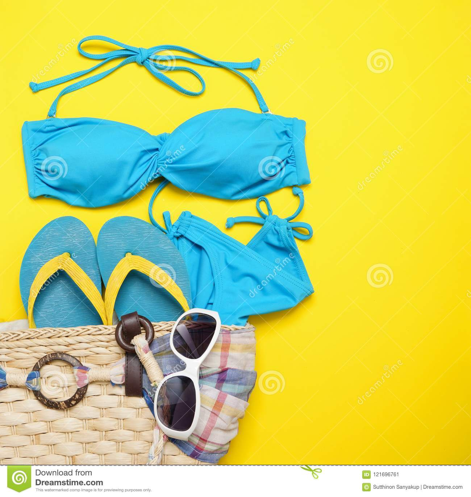 2e93857dd Beach Accessories On The Yellow Background - Sunglasses