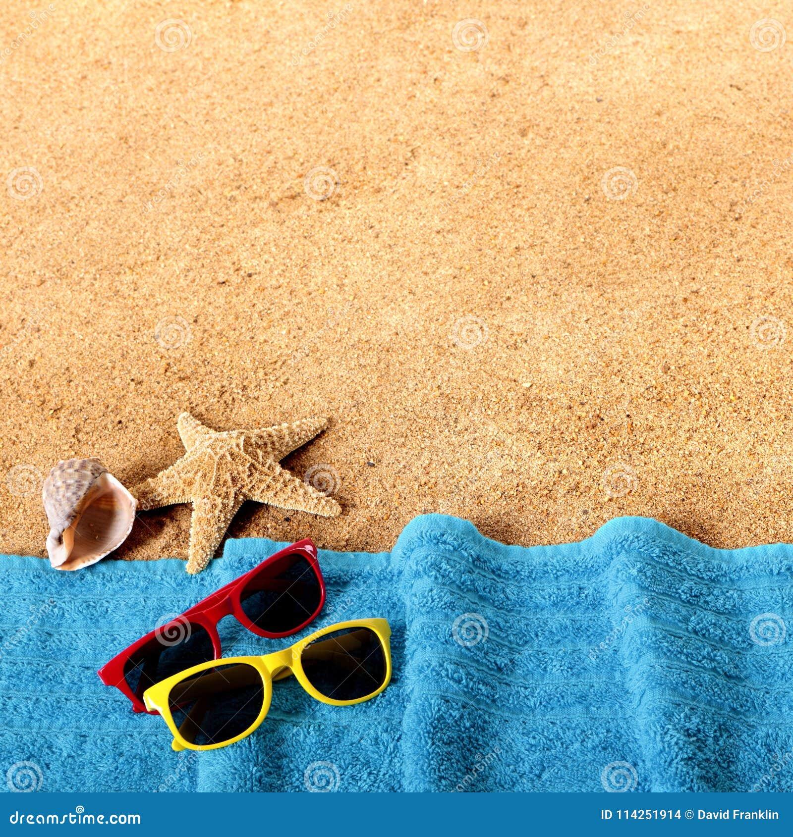 Beach Background Border Sunglasses, Towel, Starfish