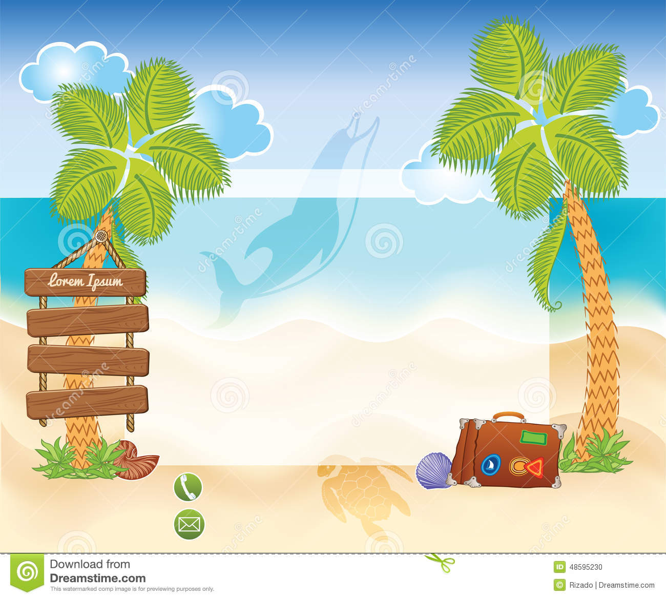 beach background with palms stock vector illustration of seashell